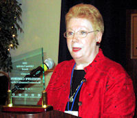 Penny Cameron accepts ICCTA's 2008 Lifelong Learning Award.
